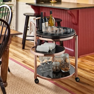 Furniture of America Cara Contemporary Rose Gold Mobile Serving/Kitchen Cart