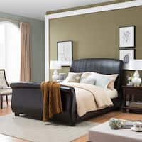 Aladdin Upholstered Bonded Leather Sleigh Queen Sized Bed Set by Christopher Knight Home