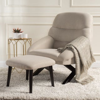 Mathias Mid-Century Fabric Accent Chair with Ottoman by Christopher Knight Home