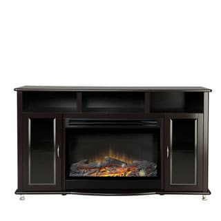 American Furniture Classics Espresso Black Entertainment Center and Electric Fireplace