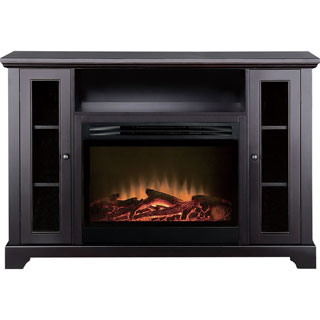 American Furniture Classics Black Entertainment Center and Electric Fireplace