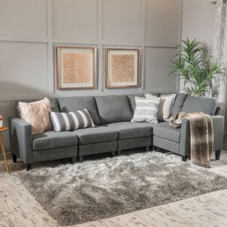 Zahra 5-piece Fabric Sofa Sectional by Christopher Knight Home|// : sectional modern - Sectionals, Sofas & Couches