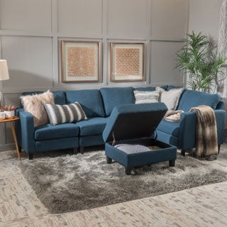 Zahra 6 Piece Fabric Sofa Sectional With Storage Ottoman By Christopher  Knight Home