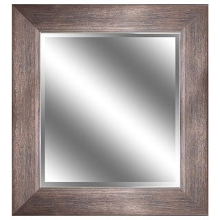 REFLECTION 23 x 27 x 1-inch Bevel Mirror with 3.75-inch Bronze Wood Grain Color Frame