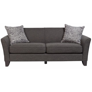 Porter Medusa Charcoal Grey Mid Century Modern Sofa with 2 Woven Snakeskin Accent Pillows