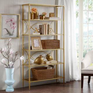 madison park signature turner antique gold shelf - Gold Bookshelves