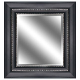 REFLECTION 23 x 27 x 1-inch Bevel Mirror with 5-inch Black Silver Color Frame