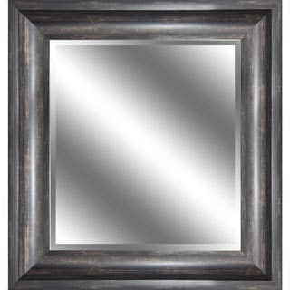 REFLECTION 23 x 27 x 1-inch Bevel Mirror with 3.75-inch Ember Bronze Wood Grain Color Frame