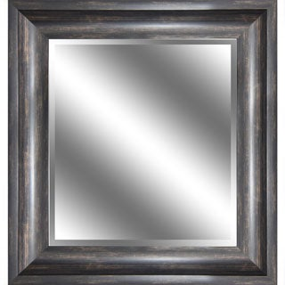 Y-Decor REFLECTION 23 x 27 x 1-inch Bevel Mirror with 3.75-inch Ember Bronze with Wood Grain-color Frame