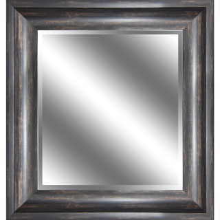 Y-Decor REFLECTION 23 x 27 x 1-inch Bevel Mirror with 3.75-inch Ember Bronze with Wood Grain-color Frame - 23 x 27