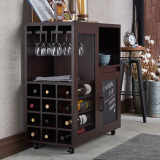 Furniture of America Ponne Industrial Chalkboard Walnut Mobile Server/Mini Bar