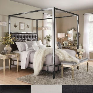 Solivita King-Sized Canopy Black Nickel Metal Poster Bed by INSPIRE Q
