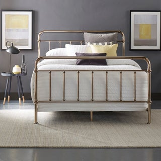 Giselle Graceful Lines Victorian Champagne Gold Metal Bed by INSPIRE Q