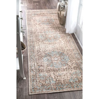 nuLOOM Traditional Faded Floral Beige Runner Rug (2'6 x 8')