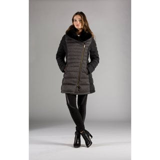 Women's Orobos Asymmetrical Zip Faux Fur Collar Down Coat