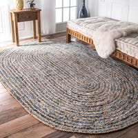 nuLOOM Handmade Braided Natural Fiber Jute and Denim Oval Rug  (5' x 8' Oval) - 5' x 8' Oval