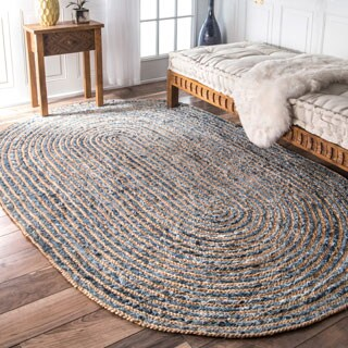 nuLOOM Handmade Braided Natural Fiber Jute and Denim Oval Rug (5' x 8' Oval)