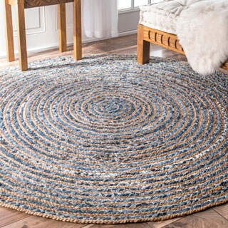 nuLOOM Handmade Braided Natural Fiber Jute and Denim Round Rug - 6' Round