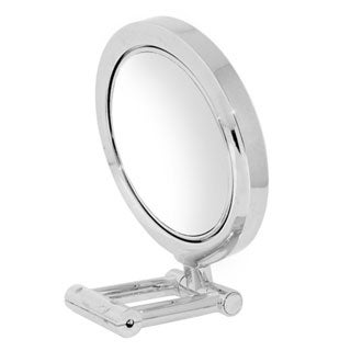 LED Chrome Stand Mirror Plus Free 3-in-1 Compact Mirror