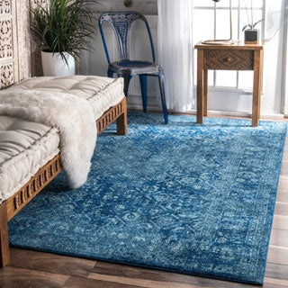 nuLOOM Traditional Trellis Blue Rug (9' x 12')