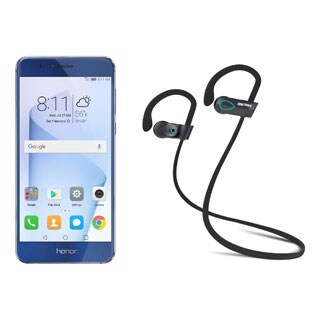 HUAWEI Honor 8 FRD-L04 Unlocked GSM Smartphone, Blue + SHARKK Flex 2o Wireless Bluetooth WaterProof Headphones (Value Bundle)