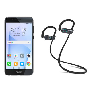 HUAWEI Honor 8 FRD-L04 Unlocked GSM Smartphone, Black + SHARKK Flex 2o Wireless Bluetooth WaterProof Headphones (Value Bundle)
