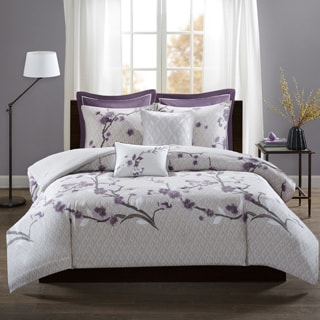 Madison Park Isabella Purple 7 Piece Cotton Duvet Cover Set