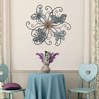 Adeco Flower and Butterfly Urban Design Metal Wall Decor for Nature Home Art