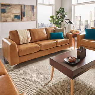 Bastian Aniline Leather Caramel Brown Sofa iNSPIRE Q Modern