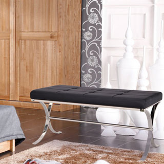 Adeco Entryway Metal Bench Footstool