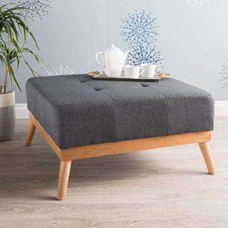 Luise Mid-Century Tufted Fabric Square Ottoman Table by Christopher Knight Home