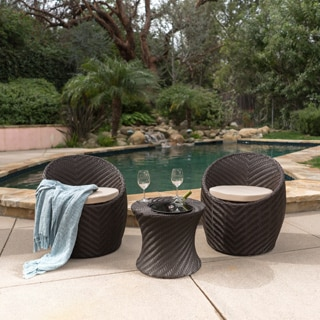 Belize Outdoor 3-piece Wicker Chat Set with Cushions by Christopher Knight Home