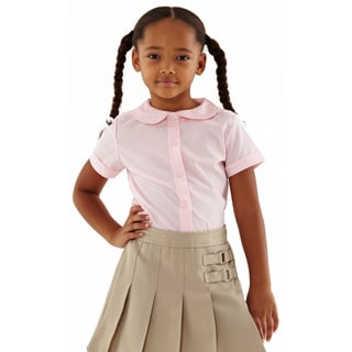 French Toast Girls' Short-sleeved Blouse with Peter Pan Collar
