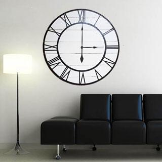 Oversized White Wood Rustic Modern Clock