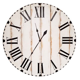 Distressed White Cedar and Black Minute Marks Oversized Wall Clock