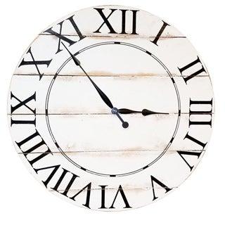 White Wood Oversized Wall Clock