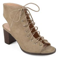 Journee Collection Women's 'Posey' Lace-up Faux Suede High Heel Booties