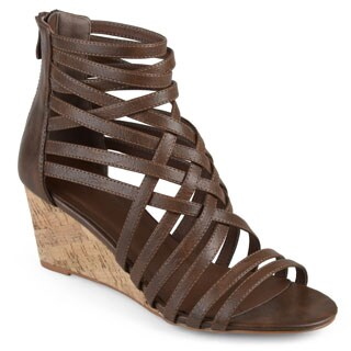 Journee Collection Women's 'Twyla' Strappy Faux Leather Wedges