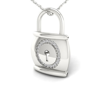S925 Sterling Silver 1/10ct TDW Diamond Lock Necklace