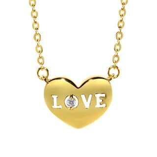 14k Yellow Gold Cubic Zirconia Love and Heart Necklace