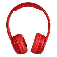 Contixo KB-300 Kid Safe 85DB, Wireless Bluetooth Red LED Headphone with Volume Limiter, Microphone, Micro SD, and FM Radio