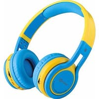Contixo KB-300 Kid Safe 85DB Wireless Bluetooth Blue + Yellow LED Headphone with Volume Limiter, Microphone, and FM Radio