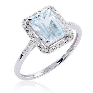 10k White Gold Aquamarine and Diamond Ring (5 options available)