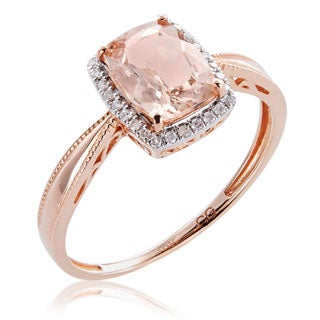 10K Rose Gold 1.31ct TW Morganite and Diamond Milgrain Ring (G-H, I2-I3)