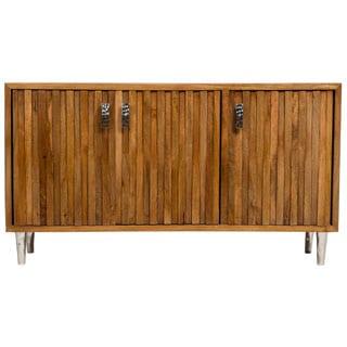 Wanderloot Topanga Sustainable Solid Mango Deco Sideboard with Dimensional Woodwork and 3 Doors