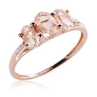 10K Rose Gold 1.43ct TW Morganite and Diamond 3-Stone Ring (G-H, I2-I3)