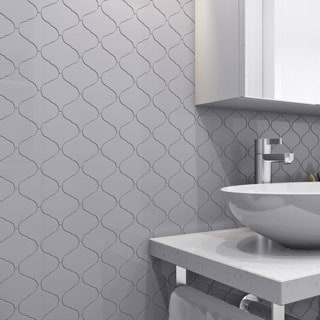 Giorbello Light Grey Porcelain 3-inch Arabesque Tile Sheets (Set of 18)