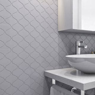 Giorbello Light Grey Porcelain 3-inch Arabesque Tile (13.35 Sq Ft)|https://ak1.ostkcdn.com/images/products/P20801334a.jpg?impolicy=medium