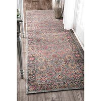 nuLOOM Traditional Lily Floral Grey Runner Rug