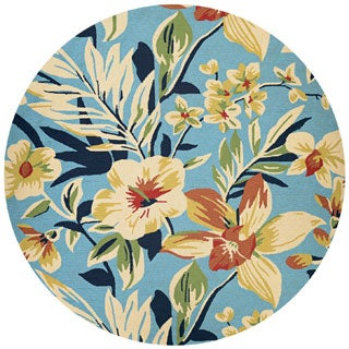 Covington Whimsical Garden Multicolored Round Indoor/Outdoor Rug - 7'10 x 7'10